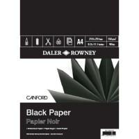 Bloc cu 30 de coli de hartie neagra Canford 150g in format A3 si A4, BLACK PAPER