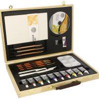 Trusa culori acrilice in cutie de lemn Simply Daler-Rowney