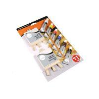 Set culori acrilice pentru copii cu 2 minisevalete, 2 mini panze si pensula