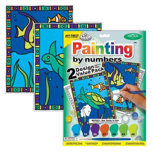 Set-pictura-pe-numere-pentru-copii,-MFP203-Broasca-testoasa-&-Pesti,-Duo-Pack