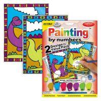 Set pictura pe numere pentru copii, MFP204 Dinozauri & Vulcani