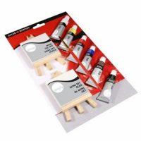 Set culori ulei Simply cu 2 minisevalete si 2 minipanze pentru incepatori