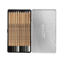 Cutie metalica Lyra Rembrandt Polycolor grey tones creioane profesionale 12 piese
