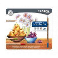 Set cutie metalica 24 creioane colorate Lyra Rembrandt Polycolor