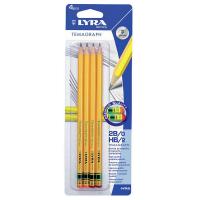 Set 4 creioane HB Lyra Temagraph cu radieră ideal pentru scris