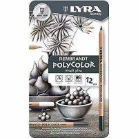 Set 12 creioane in cutie metalica Lyra Rembrandt Polycolor tonuri de gri