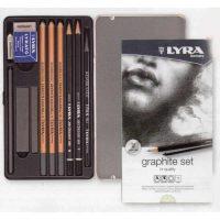 Set creioane grafit si accesorii in cutie metalica
