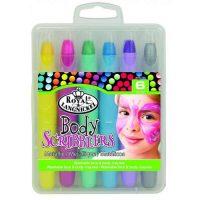 Set 6 creioane colorate pentru fata si corp culori metalice