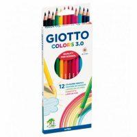 Set 12 creioane colorate Giotto Colors 3.0 pentru scoala