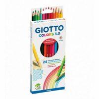 Set 24 creioane colorate Giotto Colors 3.0 pentru scoala
