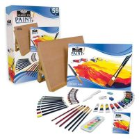 Set multimedia 59 piese cu sevalet de masa Learn to Paint