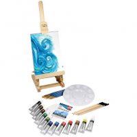 Set complet cadou pentru pictura in acuarela, cu sevalet de masa si culori Daler Rowney