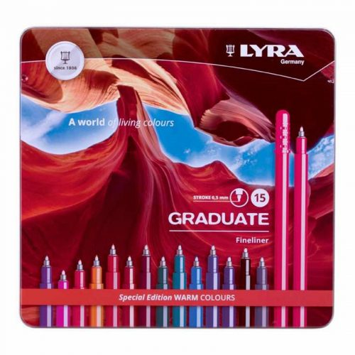 Set 15 linere colorate Lyra Graduate Fineliner  - Warm Colours