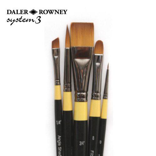 Set 5 pensule pictura culori acrilice Daler-Rowney System3 - 500 fir sintetic