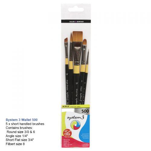 Set 5 pensule culori acrilice Daler-Rowney System3 - 500