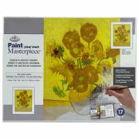 Set pictura grisaille Paint Your Own Masterpiece - Vaza cu cincisprezece flori ale soarelui culori acrilice