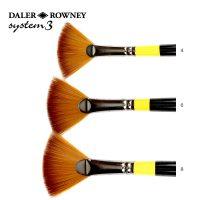 Pensula System 3 evantai SY46 cu maner lung ideala pentru culori acrilice Daler Rowney
