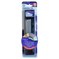 Set 9 piese in cutie metalica Daler Rowney charcoal tin