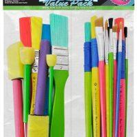 Set 25 pensule - Art & Craft 4 pensule cu buretel, 4 pensule plate din nylon si 2 pensule inclinate