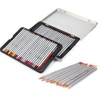 Set 50 de creioane colorate, cutie metalica, Marco Raffine