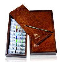 Set culori ulei 10x20ml, cutie lemn si pensula, Renesans