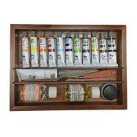 Set culori ulei 11x20ml, cutie lemn si accesorii, Renesans 2
