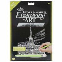 Set gravura cu efect argintiu, Royal Langnickel, Eiffel Tower